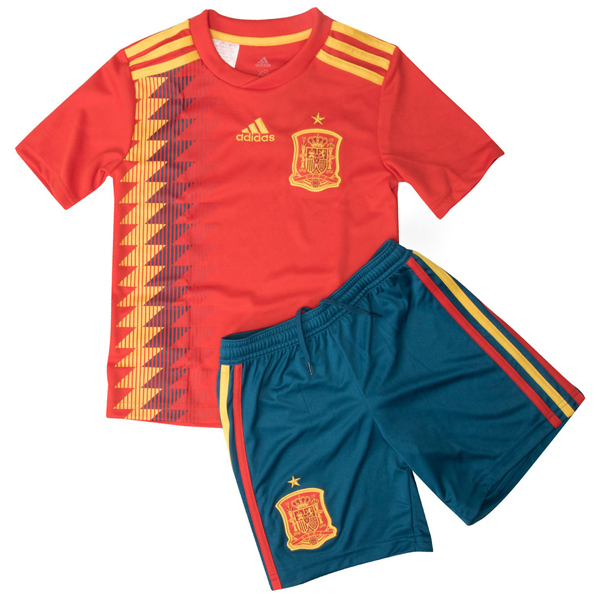 10088325e Spain 2018 World Cup Home Kids Football Kit - SoccerLord