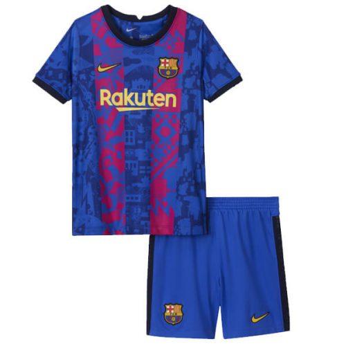 Barcelona Third Kids Football Kit 21 22