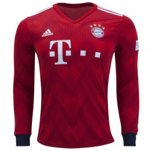 Bayern Munich Home Long Sleeve Football Shirt 1819