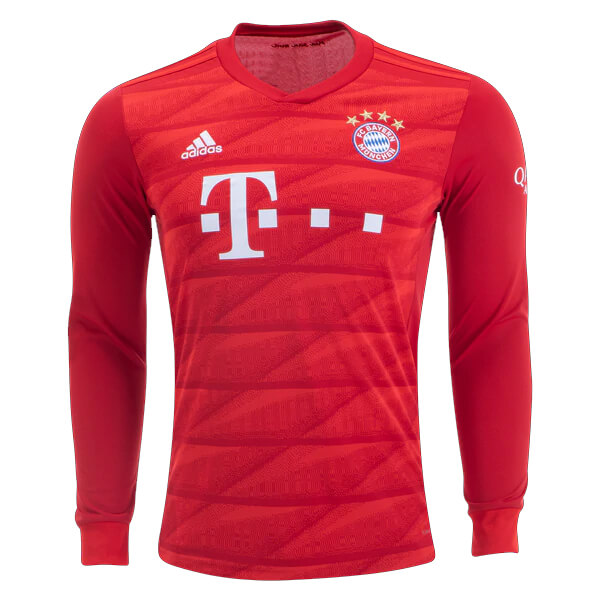buy popular 0fe9e 7e158 Bayern Munich Home Long Sleeve Football Shirt 19/20