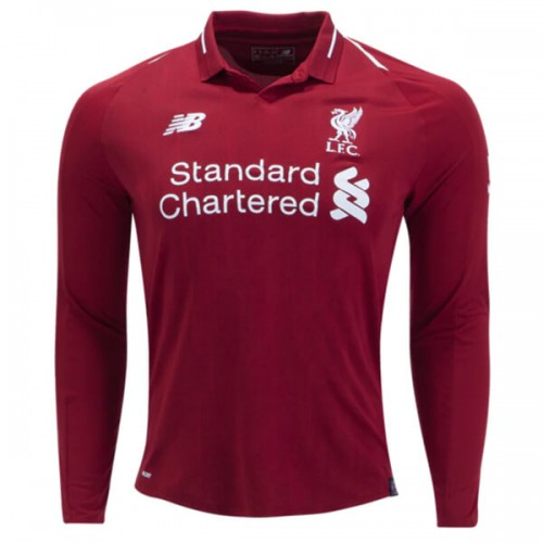 Liverpool Home Long Sleeve Football Shirt 18 19