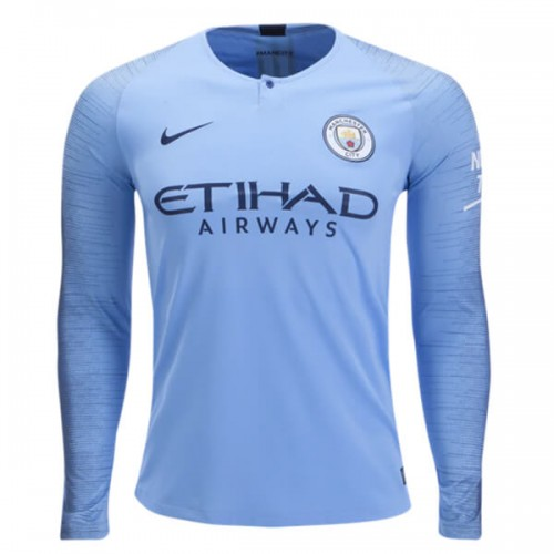 Manchester City Home Long Sleeve Football Shirt 1819