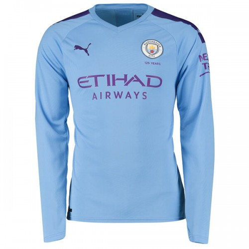 Manchester City Home Long Sleeve Football Shirt 19 20