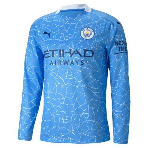 Manchester City Home Long Sleeve Football Shirt 20 21