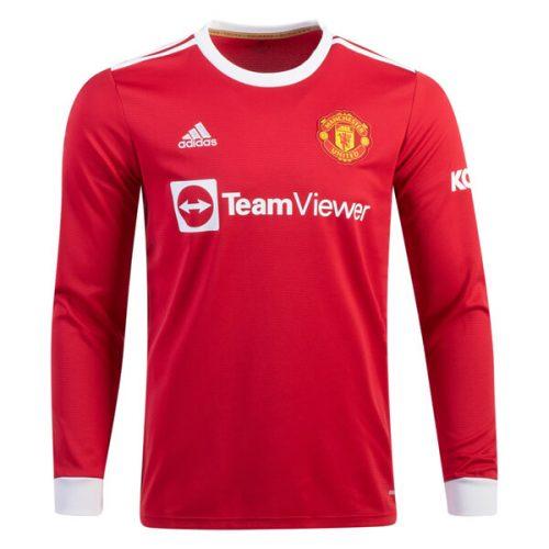 Manchester United Home Long Sleeve Football Shirt 21 22