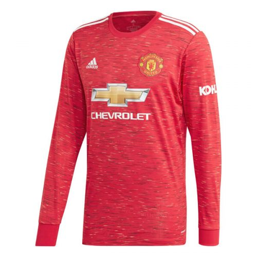 Manchester United Home Long Sleeve Football Shirt 20 21