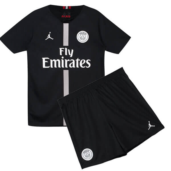 9094800c3dd Paris Saint-Germain 3rd Jordan Kids Football Kit 18 19 - Black ...
