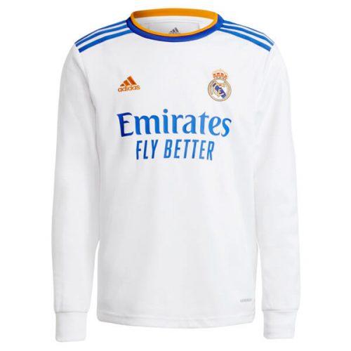 Real Madrid Home Long Sleeve Football Shirt 21 22