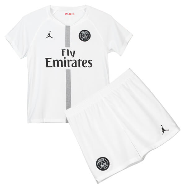 98514eef2 Paris Saint-Germain 3rd Jordan Kids Football Kit 18/19 – White ...