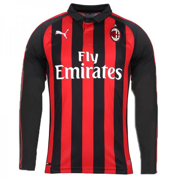9239981e4e0 AC Milan Home Long Sleeve Football Shirt 18 19 - SoccerLord