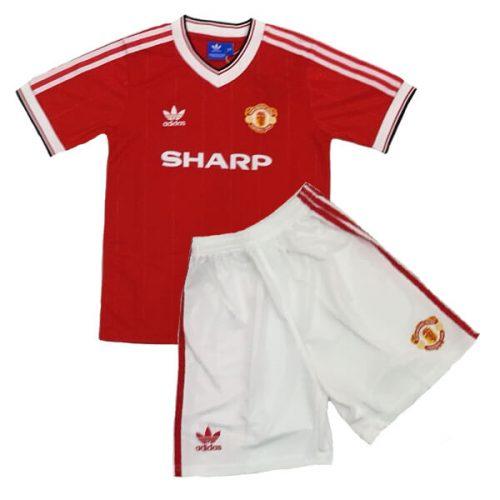 Retro Manchester United Home Kids Football Kit 86