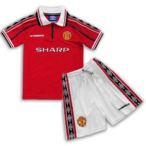 Retro Manchester United Home Kids Football Kit 88 89